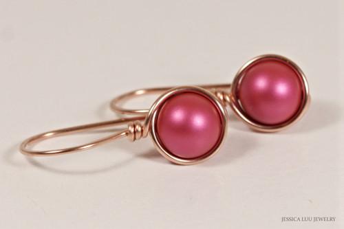 14K rose gold filled wire wrapped dark pink mulberry Swarovski pearl drop earrings handmade by Jessica Luu Jewelry