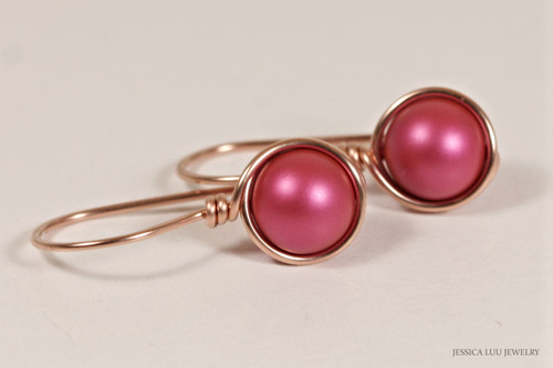 14K rose gold filled wire wrapped dark pink mulberry pearl drop earrings handmade by Jessica Luu Jewelry