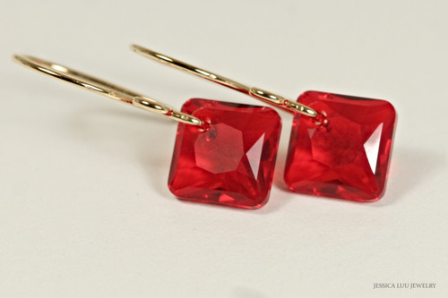 14K yellow gold filled light siam red Swarovski crystal princess cut dangle earrings handmade by Jessica Luu Jewelry