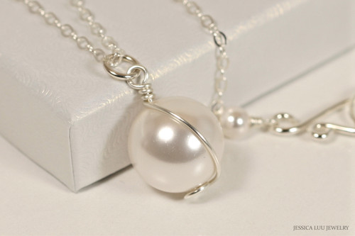 Sterling silver wire wrapped white pearl solitaire pendant on chain necklace handmade by Jessica Luu Jewelry