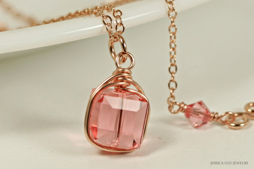 14K rose gold filled wire wrapped peach pink Swarovski crystal cube pendant on chain necklace handmade by Jessica Luu Jewelry