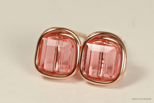 14K rose gold filled wire wrapped peach pink Swarovski crystal square cube stud earrings handmade by Jessica Luu Jewelry