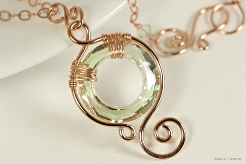 14K rose gold filled wire wrapped luminous iridescent clear light green crystal circle pendant on chain necklace handmade by Jessica Luu Jewelry