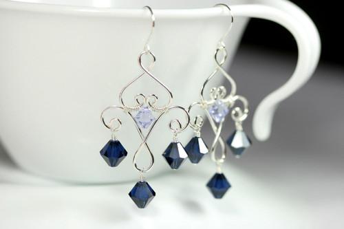 Sterling silver wire wrapped dark indigo blue Swarovski crystal chandelier earrings handmade by Jessica Luu Jewelry