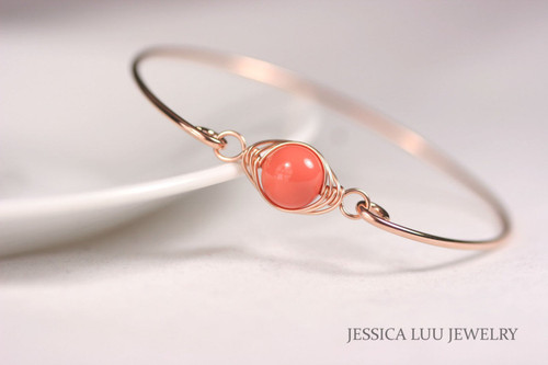 14K rose gold filled herringbone wire wrapped orange coral Swarovski pearl solitaire slide on bangle bracelet handmade by Jessica Luu Jewelry