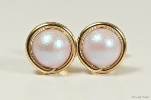 14K yellow gold filled wire wrapped iridescent light pink dreamy rose Swarovski pearl stud earrings handmade by Jessica Luu Jewelry