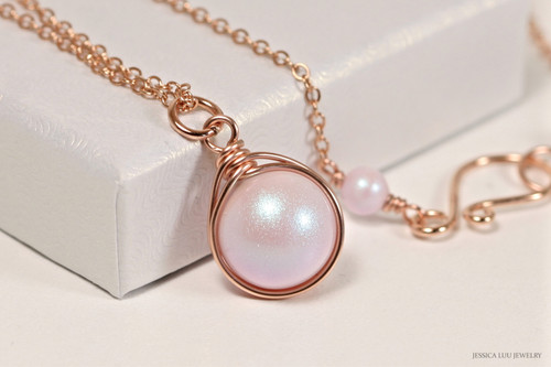 14K rose gold filled wire wrapped iridescent light pink dreamy rose pearl solitaire pendant on chain necklace handmade by Jessica Luu Jewelry