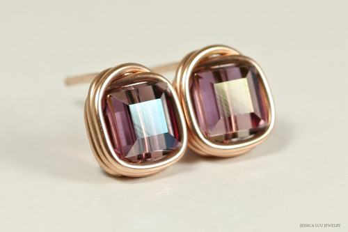 14K rose gold filled wire wrapped iridescent purple lilac shadow crystal cube stud earrings handmade by Jessica Luu Jewelry