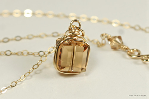 14K yellow gold filled wire wrapped light Colorado topaz Swarovski crystal cube pendant on chain necklace handmade by Jessica Luu Jewelry