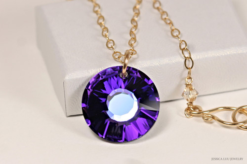 14K yellow gold filled chain necklace with heliotrope purple crystal pendant handmade by Jessica Luu Jewelry
