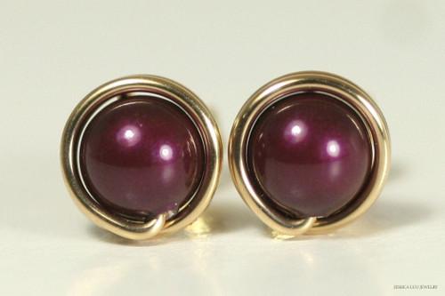 14K yellow gold filled wire wrapped blackberry purple pearl stud earrings handmade by Jessica Luu Jewelry