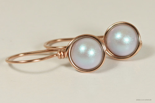 14K rose gold filled wire wrapped iridescent light dreamy blue Swarovski pearl drop earrings handmade by Jessica Luu Jewelry
