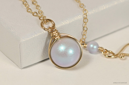 14K rose gold filled wire wrapped iridescent light dreamy blue pearl solitaire pendant on chain necklace handmade by Jessica Luu Jewelry