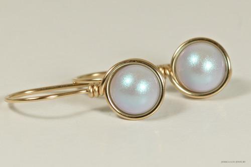 14K yellow gold filled wire wrapped iridescent light dreamy blue Swarovski pearl drop earrings handmade by Jessica Luu Jewelry
