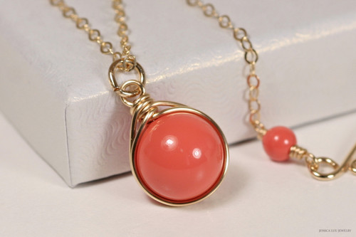 14K yellow gold filled wire wrapped orange coral Swarovski pearl solitaire pendant on chain necklace handmade by Jessica Luu Jewelry