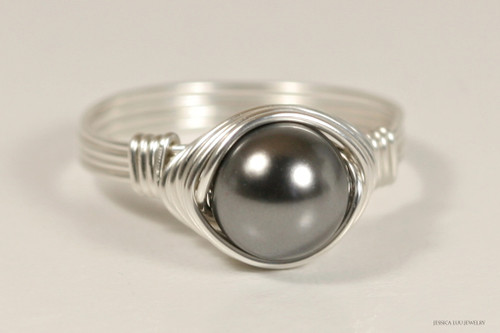 Sterling silver wire wrapped dark grey Swarovski pearl solitaire ring handmade by Jessica Luu Jewelry
