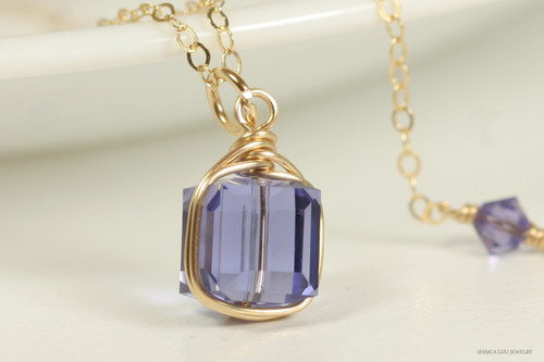14K yellow gold filled wire wrapped tanzanite Swarovski crystal cube pendant on chain necklace handmade by Jessica Luu Jewelry