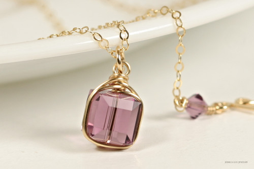 14K yellow gold filled wire wrapped purple iris Swarovski crystal cube pendant on chain necklace handmade by Jessica Luu Jewelry