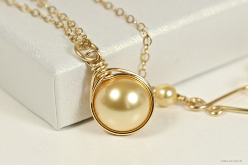14K yellow gold filled wire wrapped gold pearl solitaire pendant on chain necklace handmade by Jessica Luu Jewelry