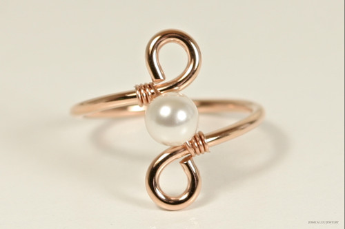 14K rose gold filled wire wrapped white Swarovski pearl solitaire ring  handmade by Jessica Luu Jewelry