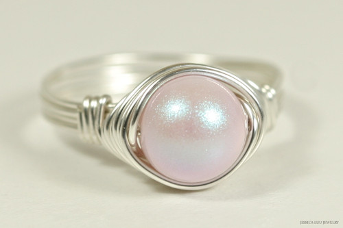 Sterling silver wire wrapped iridescent light pink dreamy rose Swarovski pearl solitaire ring handmade by Jessica Luu Jewelry