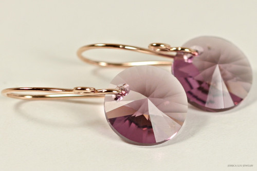 14K rose gold filled dangle earrings with iris purple crystal rivoli pendants handmade by Jessica Luu Jewelry