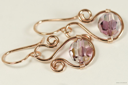 14K rose gold filled wire wrapped lilac shadow purple Swarovski crystal dangle earrings handmade by Jessica Luu Jewelry