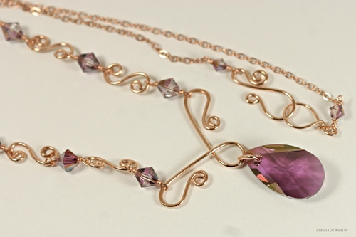 14K rose gold filled wire wrapped lilac shadow purple Swarovski crystal pendant necklace handmade by Jessica Luu Jewelry