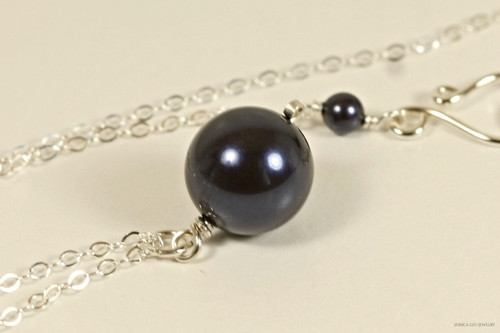 Sterling silver wire wrapped dark navy night blue pearl pendant on chain necklace handmade by Jessica Luu Jewelry