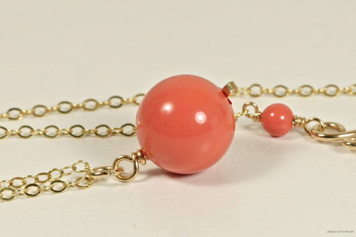 14K yellow gold filled wire wrapped orange coral pearl solitaire pendant on chain necklace handmade by Jessica Luu Jewelry