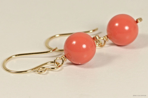 14K yellow gold filled wire wrapped orange coral Swarovski pearl dangle earrings handmade by Jessica Luu Jewelry