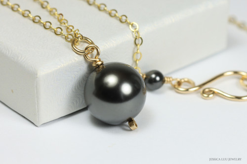 14K yellow gold filled wire wrapped black pearl solitaire pendant on chain necklace handmade by Jessica Luu Jewelry