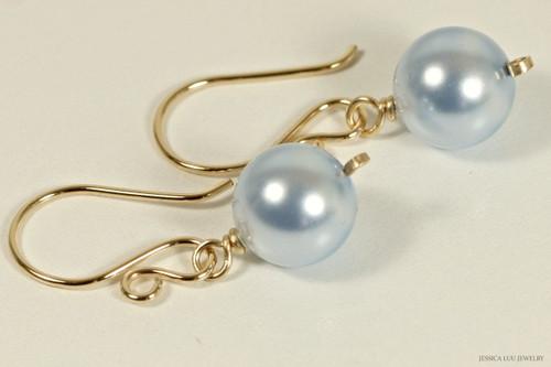 14k yellow gold filled wire wrapped light blue Swarovski pearl dangle earrings handmade by Jessica Luu Jewelry
