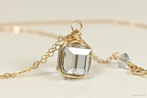 14K yellow gold filled wire wrapped blue shade Swarovski crystal cube pendant on chain necklace handmade by Jessica Luu Jewelry
