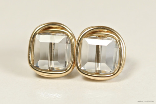 14K yellow gold filled wire wrapped blue shade Swarovski crystal cube stud earrings handmade by Jessica Luu Jewelry