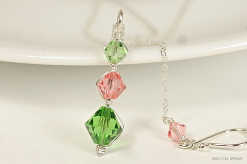 Sterling silver wire wrapped peridot, rose peach and fern green crystal pendant on chain necklace handmade by Jessica Luu Jewelry