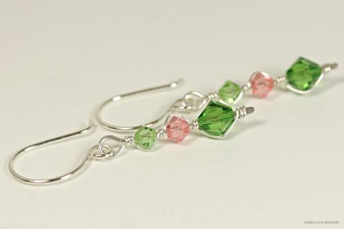 Sterling silver wire wrapped peridot, rose peach, fern green crystal dangle earrings handmade by Jessica Luu Jewelry