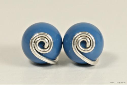 Sterling silver wire wrapped lapis blue Swarovski pearl stud earrings handmade by Jessica Luu Jewelry