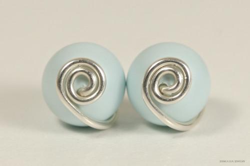 Sterling silver wire wrapped pastel light blue Swarovski pearl stud earrings handmade by Jessica Luu Jewelry