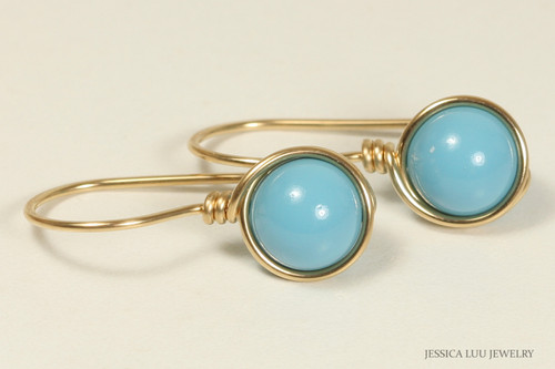 14K yellow gold filled wire wrapped turquoise blue drop earrings handmade by Jessica Luu Jewelry