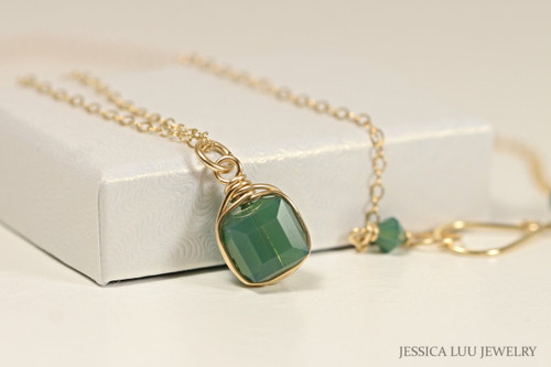 14K yellow gold filled wire wrapped palace green opal Swarovski crystal cube pendant on chain necklace handmade by Jessica Luu Jewelry