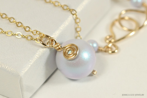 14K yellow gold filled wire wrapped iridescent dreamy blue Swarovski pearl pendant on chain necklace handmade by Jessica Luu Jewelry