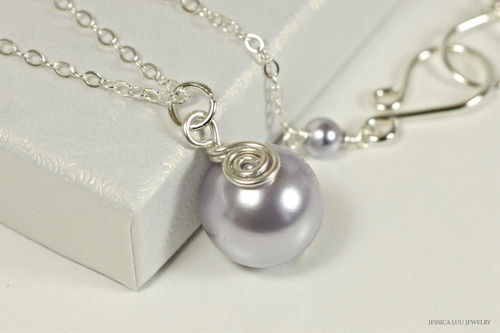 Sterling silver wire wrapped lavender Swarovski pearl pendant on chain necklace handmade by Jessica Luu Jewelry