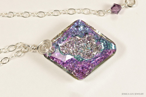 Sterling silver vitrail light crystal grow rhombus pendant on chain necklace handmade by Jessica Luu Jewelry