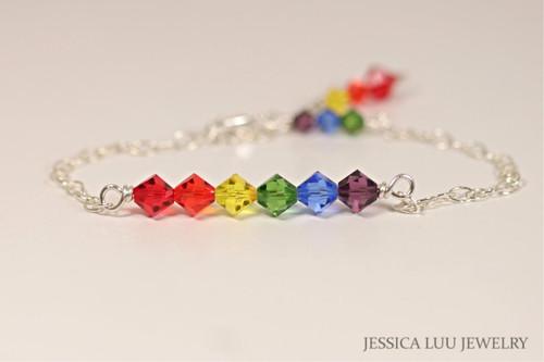 Sterling Silver rainbow Swarovski crystal chain bracelet handmade by Jessica Luu Jewelry