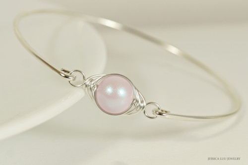 Sterling silver wire wrapped iridescent dreamy rose light pink Swarovski pearl solitaire bangle bracelet handmade by Jessica Luu Jewelry