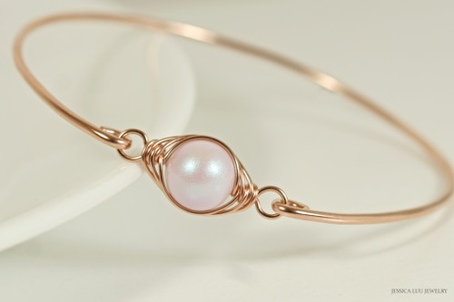 14K rose gold filled wire wrapped iridescent dreamy rose light pink Swarovski pearl solitaire bangle bracelet handmade by Jessica Luu Jewelry