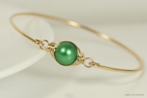 14K yellow gold filled herringbone wire wrapped eden green Swarovski pearl slide on bangle bracelet handmade by Jessica Luu Jewelry