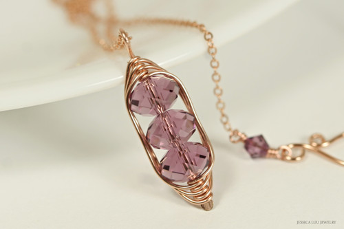 14K rose gold filled wire wrapped iris purple Swarovski crystal pendant on chain necklace handmade by Jessica Luu Jewelry