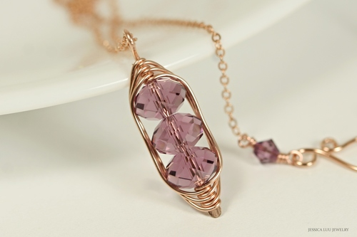 14K rose gold filled wire wrapped iris purple Swarovski crystal pendant on chain necklace handmade by Jessica Luu Jewelry
